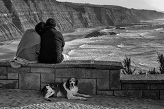 """Move along ... nothing to see here."" (Canadapt) Tags: people couple sweethearts man woman dog guard wall cliffs beach ocean tile bw magoito portugal canadapt"