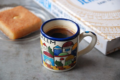 Coffee Break (caprilemon) Tags: coffee drink sugar cardamon turkishcoffee craft pottery handmade cookbook dessert semolina syrup almond coffeebreak kaffeeundkuchen fika kaku marketday weekend saturday berlin israel namoura arab sweets coconut