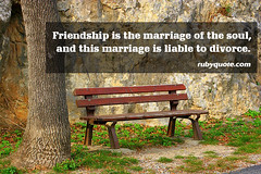 Friendship is the marriage of the soul, and this marriage is liable to divorce. (rubyquote) Tags: divorce marriage soul