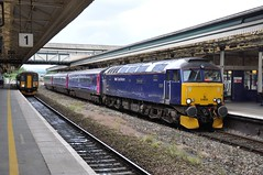 """First Great Western Class 57/6, 57605 """"Totnes Castle"""", & Class 153, 153361 (37190 """"Dalzell"""") Tags: blue exeter firstgreatwestern stdavids dmu class153 bodysnatcher class47 fgw class57 totnescastle summersaturday 57605 nightriviera class470 153361 47206 class576 brushtype daycoaches 4gmgeneralmotors"""