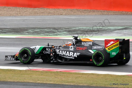 Nico Hulkenberg in his Force India during qualifying for the 2014 British Grand Prix