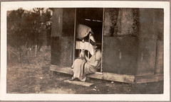 0906C Lady with a cat #3 (GSofV) Tags: 1920s camp pet lady cat kitten australia victoria gsv albumj