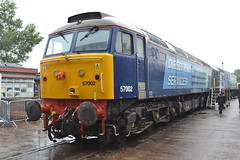 Direct Rail Services 57002 (Will Swain) Tags: road uk travel bridge england west heritage rain train day open cheshire britain south north transport traction shed july rail railway trains 66 class line crewe 20 37 90 freight services direct 57 19th 68 2014 drs 57002 gresty