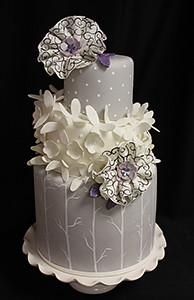 Winter Tree Branch Petals Wedding Cake with Fabric Flowers