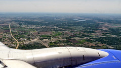 Aerial Photo : Ascent Over Westchester County, NY (6/14) (A Million Shards of Light) Tags: road blue urban brown white newyork green airplane grid photography highway suburban photos horizon flight aerial planning civilization development birdseyeview ascent westchester topography