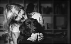 Stepanka (Tomas.Kral) Tags: bw woman dog pet girl smile canon 50mm diy blackwhite fists strobe speedlite beautydish 5dmarkii yn560ii
