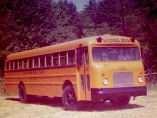 THOMAS BUILT BUS, 1958 GMC Transit-Style NC School Bus, Omaha Orange.  Digitized from print.