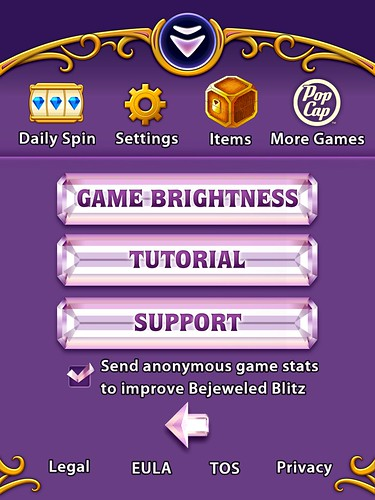 Bejeweled Blitz Settings: screenshots, UI