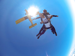 Exit (shivapat) Tags: blue skydiving jour bleu pilatus skydive nimes porter contrejour contre gard parachute freefall parachutisme pc6