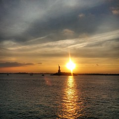 Sunset by the Statue of Liberty (bharl) Tags: nyc cruise sunset sun newyork love ferry amazing lik3 staueofliberty