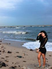 Pacific (Cindy Nicolle) Tags: ocean city blue sea sky woman beach girl rock azul canon mar sand rocks waves pacific country viento chick arena teen cielo panama olas gurl t3i 600d