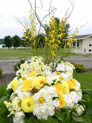 Alterpiece/ Reception Decor, Lake Geneva Wedding, Wisconsin Wedding, Geneva National Golf Course wedding, Naperville wedding florist, AimStudios, gray and yellow wedding (AimStudios) Tags: wisconsin lakegeneva yellowroses whitehydrangea whiteroses whitedahlias craspedia whitestock creamstock yellowdahlias billyballs oncidiumorchids yellowwedding scabiosapods whitesprayroses yellowandgraywedding yellowsprayroses whiteveronica yellowgardenrose ivoryhypericum genevanationalgolfcourse