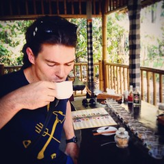 Tasting the most expensive coffee in the world...Luwak coffee in #Bali made from beans eaten and pooped by a mongoose.. Catpoo-ccino?