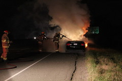 Fully Involved Vehicle Fire (bcfiretrucks) Tags: road street canada water fire highway bc smoke flames engine scene columbia richmond hose freeway vehicle british mustang firefighter 91
