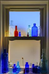 Bottles (Jack Deem) Tags: blue light sunlight color colour home window canon bathroom daylight day bottles vibrant horizon tripod decoration reflect 7d medicine through hdr lightroom remedy 1585 canon7d magnisum
