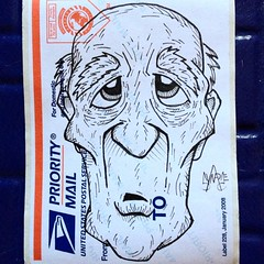 So this is technically the very first subway portrait I ever did. At that moment, I would have never believed that I'd end up generating hundreds (perhaps close to a thousand) more of them over the course of nearly two years. #synapse (synapse65) Tags: portrait streetart art illustration square graffiti sticker stickerart stickers squareformat usps synapse label228 iphoneography instagramapp