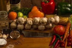 Garlic SL Study-2977 (RG Rutkay) Tags: red stilllife orange green vegetables dill grid corn wine tomatoes salt knife carrot oil garlic peppers softbox strobe incompletestrobistinfo
