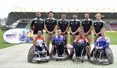 Twickenham, England. Great Britain Wheelchair Rugby players with Harlequins players during the Aviva Premiership match between Harlequins and Wasps at Twickenham Stoop on September 20, 2014 in Twickenham, England. (Great Britain Wheelchair Rugby) Tags: england men sport rugby player match middlesex aviva premiership twickenham quins gbr thestoop harlequins rugbyuniontournament
