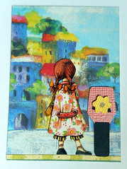 ATC1336 - Looking for grandma's house in Sicily (tengds) Tags: atc artisttradingcard artcard girl houses blue grandma yellow flowers green recycledcard handmadecard card collage papercraft tengds