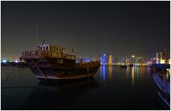Dhow and Skyline at Night (Daniel Brennwald) Tags: doha katar night qatar dhow