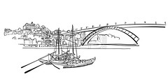 Porto Skyline Panorama Illustration (Hebstreits) Tags: architecture art background beautiful black building card city cityscape color design downtown drawing drawn europe gray grunge hand illustration isolated landmark landmarks landscape metropolis old oporto outline panorama panoramic porto portugal poster print red sea silhouette skyline symbol tower travel typographic urban vector vintage water white