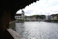 (LouisQiu) Tags: street travel bridge mountain lake architecture switzerland europe day swiss luzern chapel