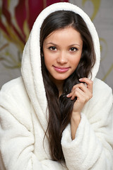 happy girl in a bathrobe (mustafaakdenizi) Tags: morning woman house home kitchen coffee smiling modern female breakfast standing laughing happy eyes adult skin drink interior young lifestyle lips health terry attractive wife hood positive brunette care cheerful belarus bathrobe freshness caucasian