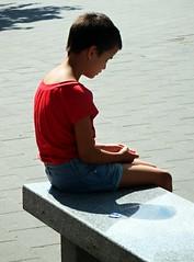 Sitting Boy (Kojotisko) Tags: street city people streets person czech streetphotography brno cc creativecommons czechrepublic streetphoto persons fujifilmfinepix fujifilmfinepixsl1000 fujifilmfinepixsl1000kojotisko