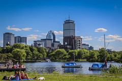A Boston Summer - Charles River (M$ingh.) Tags: new city travel summer vacation england people urban usa lake holiday tower june boston skyline river landscape boats daylight massachusetts sunny prudential thechallengefactory