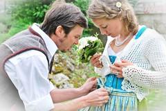 F00020 (haraldportele) Tags: wedding groom bride concentration bow bouquet bridal intimate situation dirndl schleife braut bräutigam tracht top20bavaria top20bavaria20 brautstraus