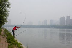 cast (cooneybw) Tags: china city people urban canon river smog shenyang biketrail liaoning wulihe
