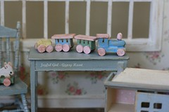 choo-choo (*Joyful Girl ♥ Gypsy Heart *) Tags: train miniature wooden doll hand pastel painted nursery 112 dollhouse joyfulgirlgypsyheart