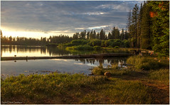Manzanita Lake Sunset - Golden Hour (ScottElliottSmithson) Tags: california sunset sun lake color nature canon spectacular eos nationalpark 7d serene nationalparks mountainlake lassenvolcanicnationalpark manzanitalake eos7d dtwpuck scottsmithson scottelliottsmithson