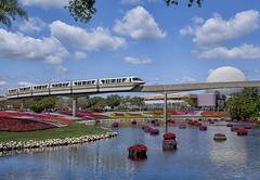 epcot monorail (KarrieChantel) Tags: flower epcot florida disney monorail waltdisneyworld spaceshipearth flowerandgardenfestival