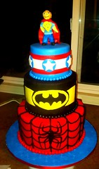 Superhero Cake (Sandpoint City Sweets ~ Cake Design) Tags: birthday city boy cake america comics dc spiderman superman captain superhero batman sweets marvel sandpoint sandpointid fondant uploaded:by=flickrmobile colorvibefilter flickriosapp:filter=colorvibe