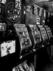 What The Butler Saw (Cass photo) Tags: new old school light shadow blackandwhite gambling history classic dark saw fairground aaron flags historic butler what british unionjack gamble cass slots 1920 iphone