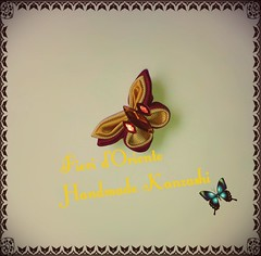 How are you? Here a butterfly kanzashi to remember our Summer!  ¿ Qué tal? Aquí una mariposa kanzashi para recordar el verano! Come va?  Ecco un kanzashi a farfalla per ricordare la nostra estate.  Handmade kanzashi Fioridoriente #fioridoriente #handmade (fioridoriente) Tags: flowers summer flores flower fleur fleurs butterfly estate handmade brooch flor jewelry fabric verano fiori mariposa fiore farfalla kanzashi fioridoriente