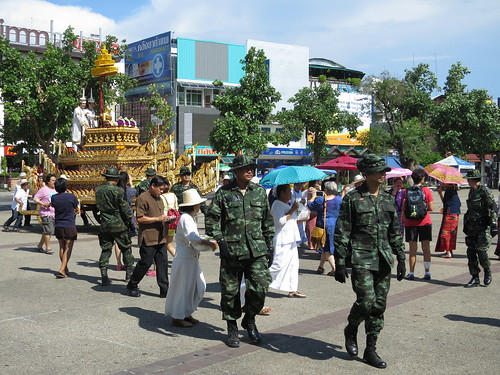 leading the procession