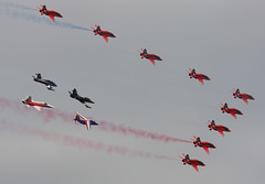 Red_Arrows_01 (GH@BHD) Tags: fighter hawk aircraft aviation tiger f5 trainer redarrows raf freccetricolori aerobatic fairford northrop royalairforce italianairforce patrouilledefrance f5e raffairford mb339 breitlingjetteam hawkersiddeley swissairforce riat2014