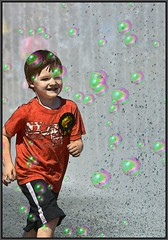 Run Bubbles Fountain (swong95765) Tags: boy wet water fountain smile funny bubbles running