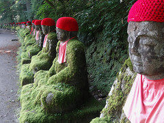 Deities (Nicote) Tags: japan stone japanese for this tokyo is moss cares who ghost group statues row particular alternately nikko bodhisattva far mossy jizo called deceased bakejizo a