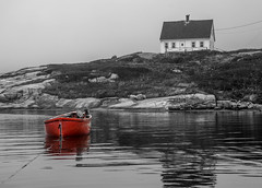 The Splash of Red (Vanili11) Tags: red boats novascotia sigma peggyscove gamewinner selectivecolors matchpointwinner beginnerdigitalphotographychallengewinner thechallengefactory sigma18250mm ultraherowinner gamex3winner showbizsweepwinner sigma18250mmf3563dcmacrooshsm mpt389