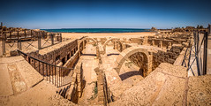 Panorama de Cesarea (Juan Ramn Jimnez) Tags: trip viaje sea panorama stone israel mar rocks pano panoramic caesarea cesarea piedra