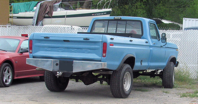 blue classic ford truck vintage 4x4 pickup pickuptruck vehicle 1970s v8 madeinusa americanmade fourwheeldrive fomoco longbed dodgeram f250 fseries 34ton eyellgeteven