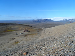 D4:- Thur. Back to the cars,about 24 Km, Started at 10:00.  About 7hrs20. Hofsjokulll glacier behind. (JJC2008) Tags: iceland pools thermal hillwalkers bishopstown pingviller