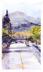 55 Freeway (Sherry Schmidt) Tags: california art cars watercolor painting landscape sketchbook freeway watercolour