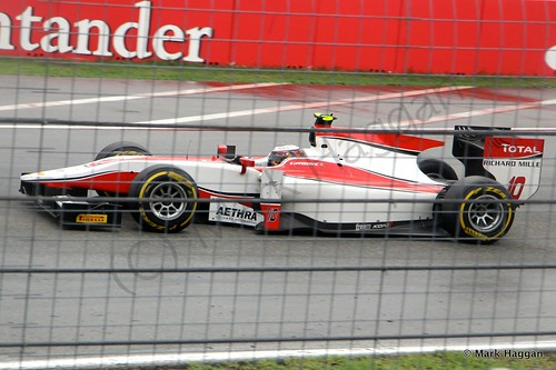 Stoffel Vandoorne in his ART Grand Prix car in the second GP2 race at the 2014 German Grand Prix