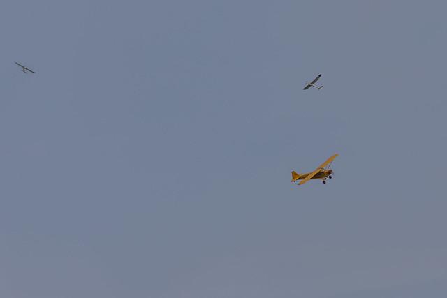 Two gliders {Arthur and Glenn) plus Alan's Cub.
