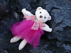 Lost (Nicote) Tags: bear pink ballet mountain storm abandoned beauty japan river toy is site dance kyoto place district scenic skirt it historic arashiyama western backdrop forms  across which tutu outskirts designated refers tt nationally i