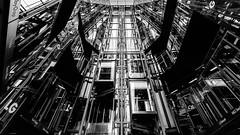 The Mechanics Of Shopping (Sean Batten) Tags: england blackandwhite bw london nikon lift unitedkingdom elevator stark d800 openhouselondon 1424 1newchange